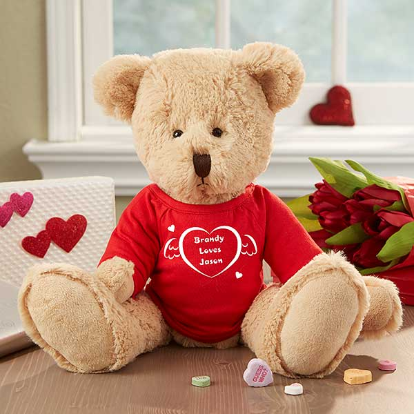 personalized teddy bear gift with custom heart t shirt