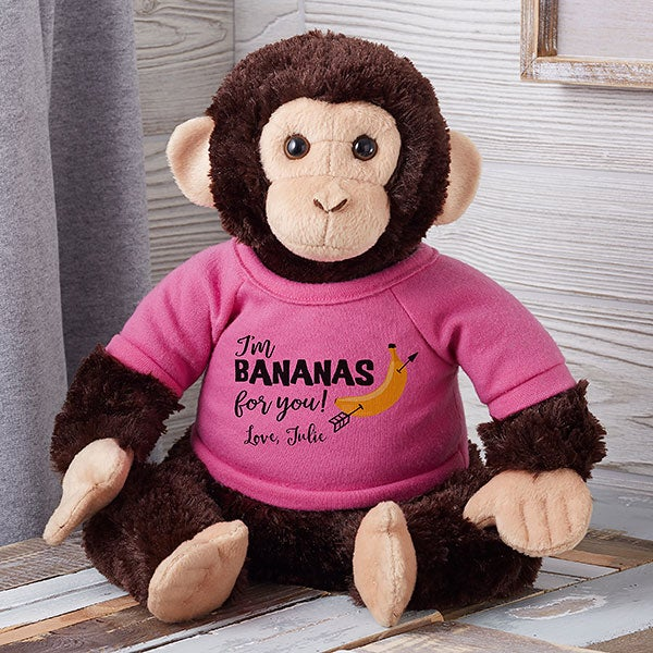 Personalized Monkey Stuffed Animal - Bananas for You - 19585