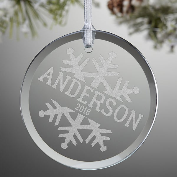Snowflake Family Personalized Glass Ornaments - 19593
