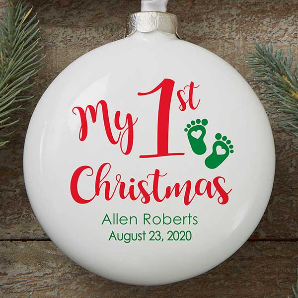 My First Christmas Ornament 2020 Personalized Baby's First Christmas Ornament   Deluxe Slim Globe