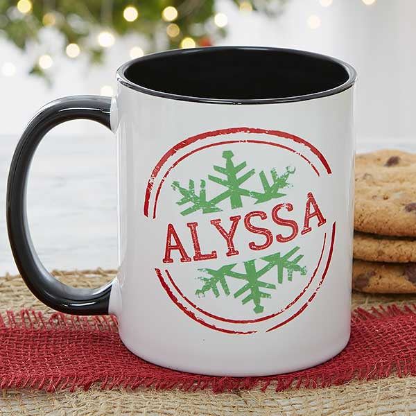 Personalized Coffee Mugs - Snowflake Greetings - 19643