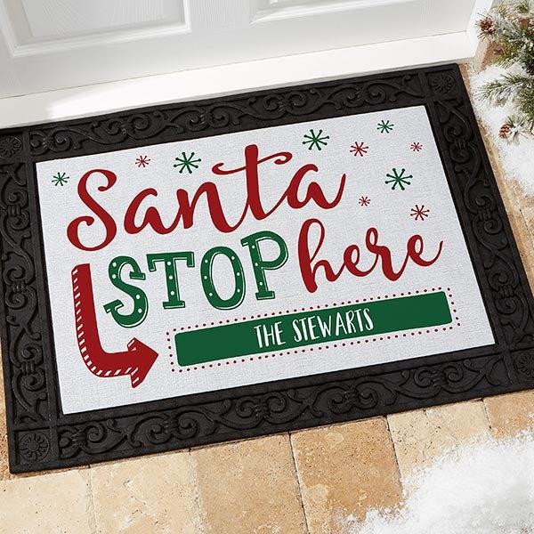 Personalized Holiday Doormats - Santa Stop Here - 19650