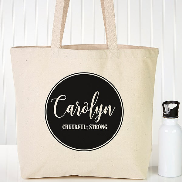 Personalized Canvas Tote Bag - Name & Meaning - 19663
