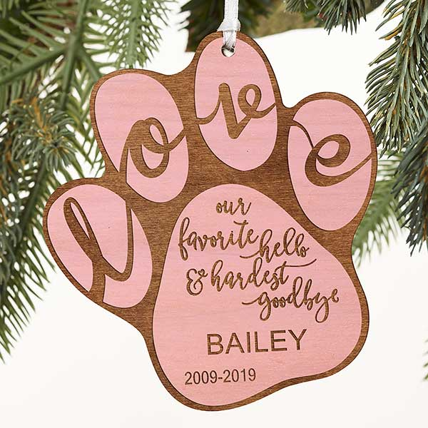 Hardest Goodbye Pet Memorial Personalized Pink Wood Ornament