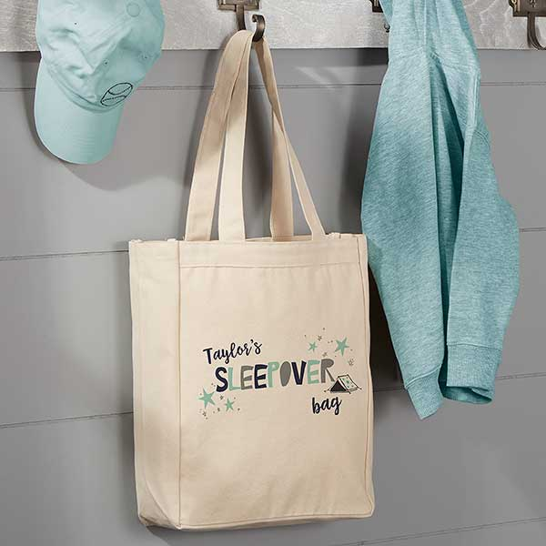 Personalized Boys Sleepover Tote Bag
