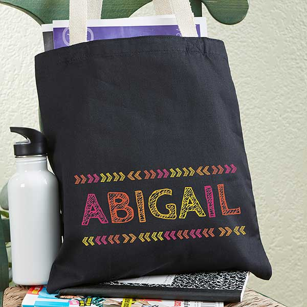 Personalized Tote Bag For Girls - Stencil Name - 19674