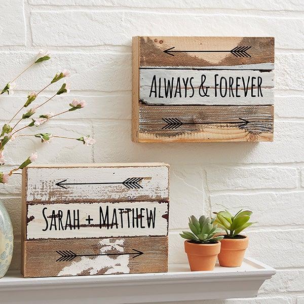 Romantic Arrows 8x6 Personalized Reclaimed Wood Wall Art