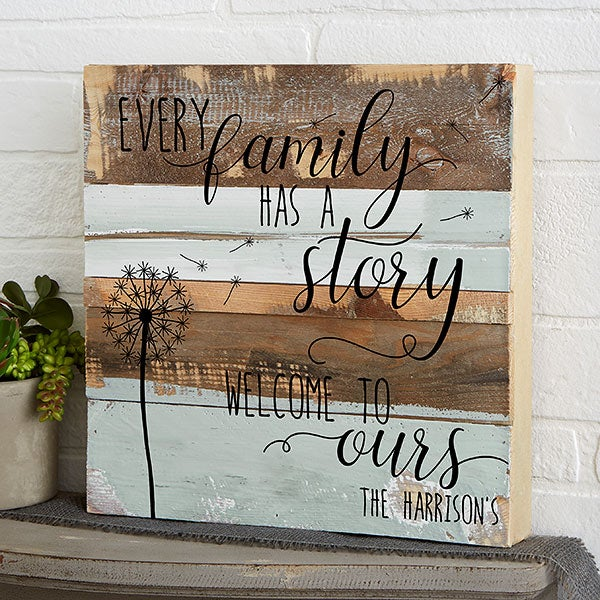 Family Home Decor: Family Story 12x12 Personalized Reclaimed Wood Wall Art