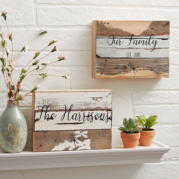 Family Story 12x12 Personalized Reclaimed Wood Decor