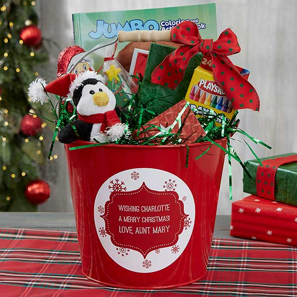 Merry Christmas Gift.Merry Christmas Personalized Kids Red Metal Gift Bucket