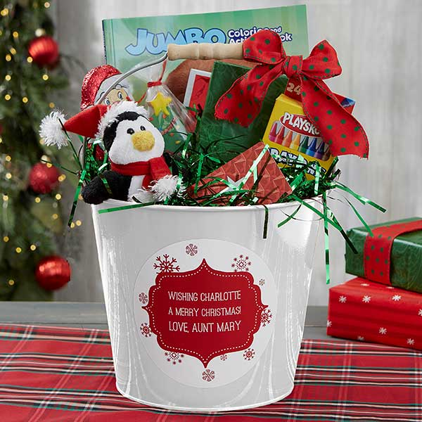 Merry Christmas Gift.Merry Christmas Personalized Kids White Metal Gift Bucket