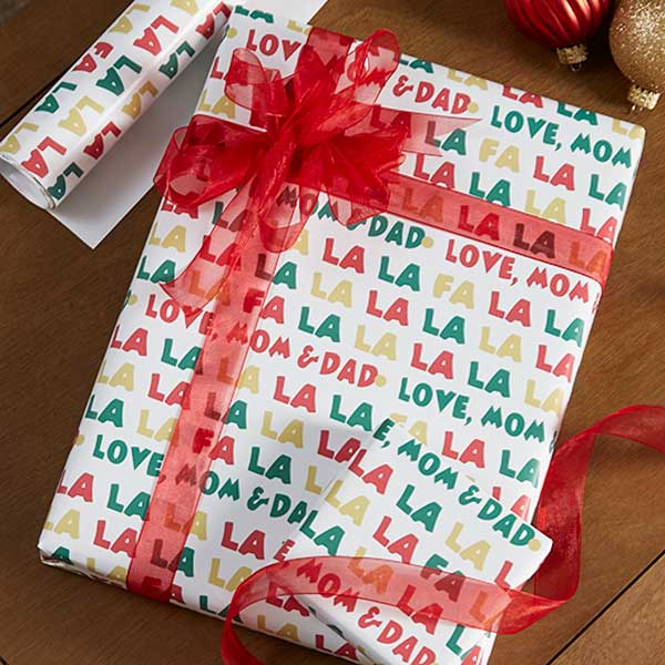 personalized christmas wrapping paper fa la la 19729