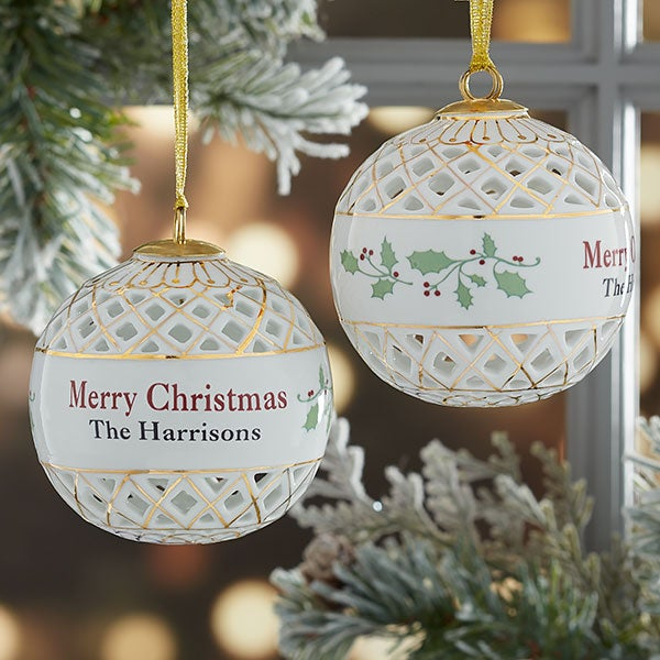 Merry Christmas Personalized Ball Ornament - 19747