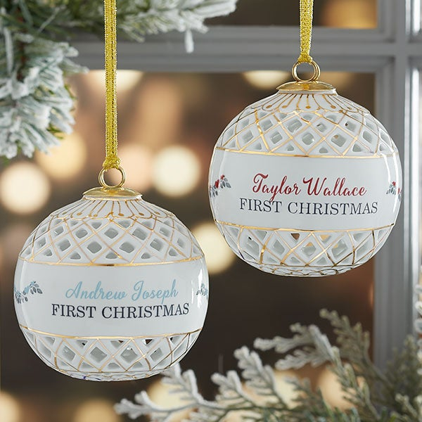 Baby's First Christmas Personalized Ball Ornament - 19780