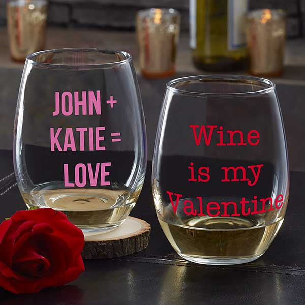 Personalized Valentine's Day Wine Glasses - 19784