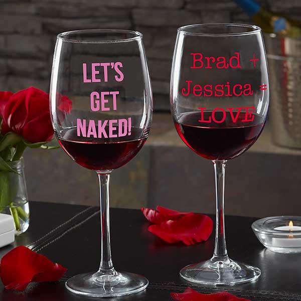 Personalized Valentine's Day Wine Glasses - 19784