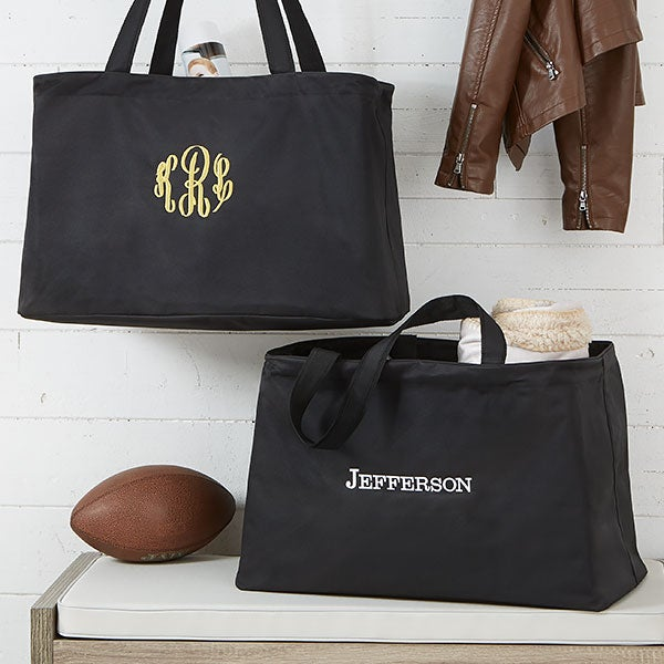 Personalized Large Black Tote Bag with Name or Monogram - 19791