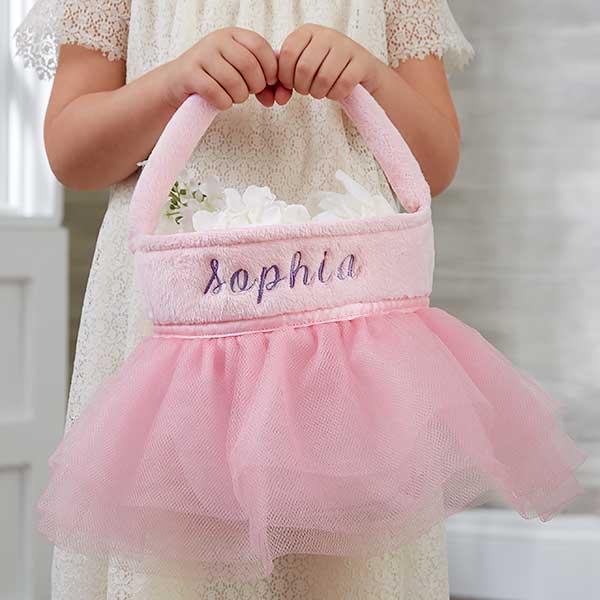 Pink Tutu Personalized Flower Girl Basket - 19793