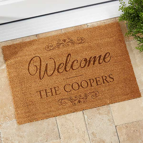 Personalized Coir Welcome Mat with Family Name - 19824