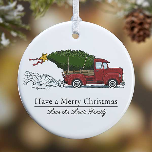 Personalized Vintage Truck Christmas Ornament
