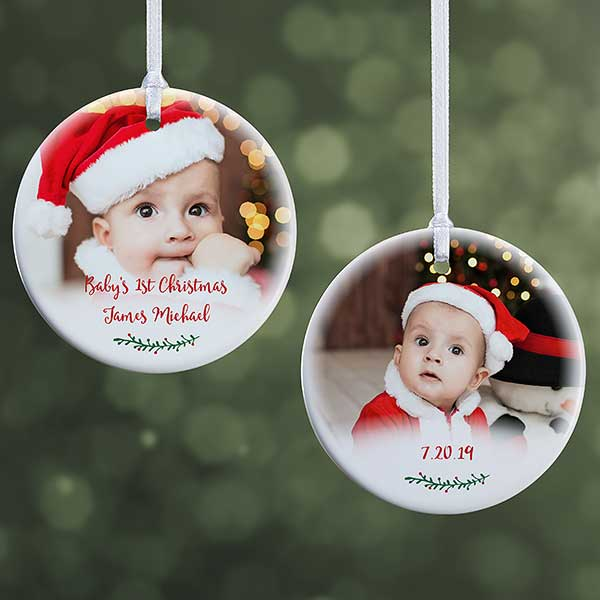 Small Christmas Gifts.Holly Branch Baby Photo Ornament 2 Sided Small