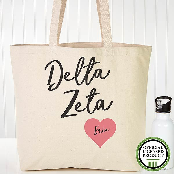 Personalized Delta Zeta Sorority Canvas Tote Bag - 19849