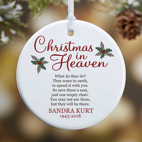 personalized memorial ornament christmas in heaven
