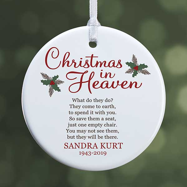 Christmas In Heaven.Christmas In Heaven Small 1 Sided Memorial Ornament