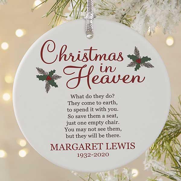 Christmas In Heaven Large 1 Sided Memorial Ornament Christmas Corner