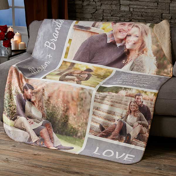 Personalized Romantic Love Photo Collage Sherpa Blankets - 19891