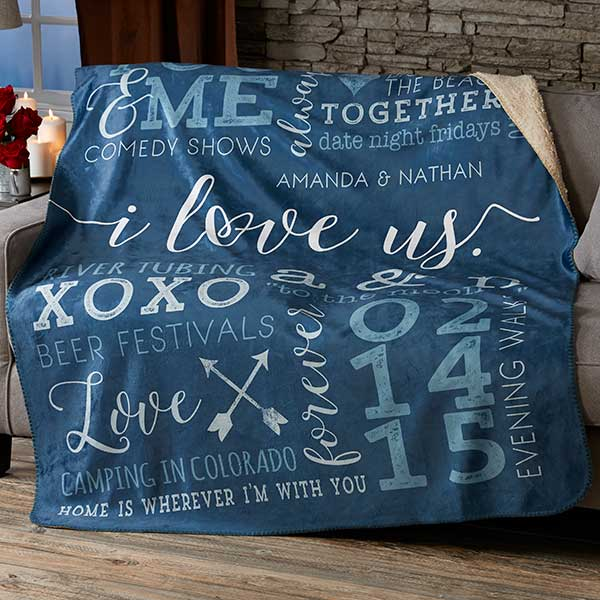 Personalized Sherpa Blankets - I Love Us - 19970