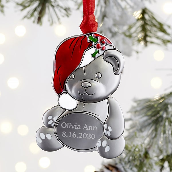 My First Christmas Ornament 2020 My First Christmas Personalized Teddy Bear Ornament