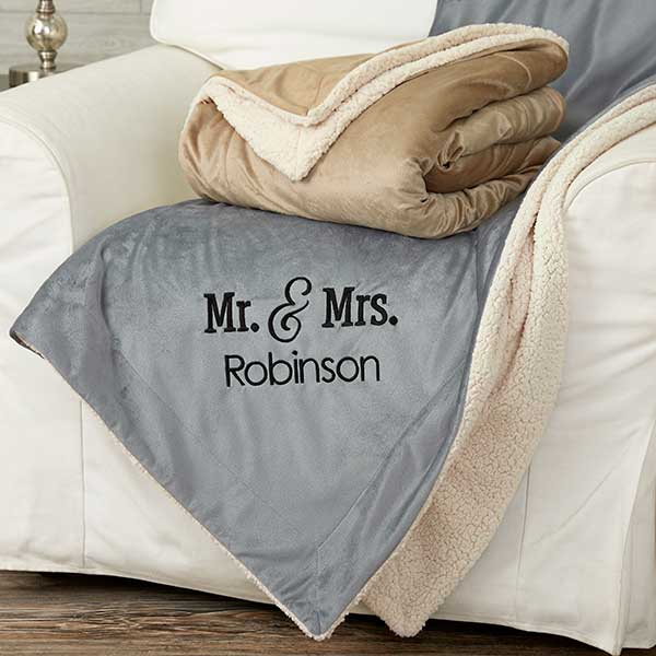 Embroidered Sherpa Blankets - Mr & Mrs - 20070