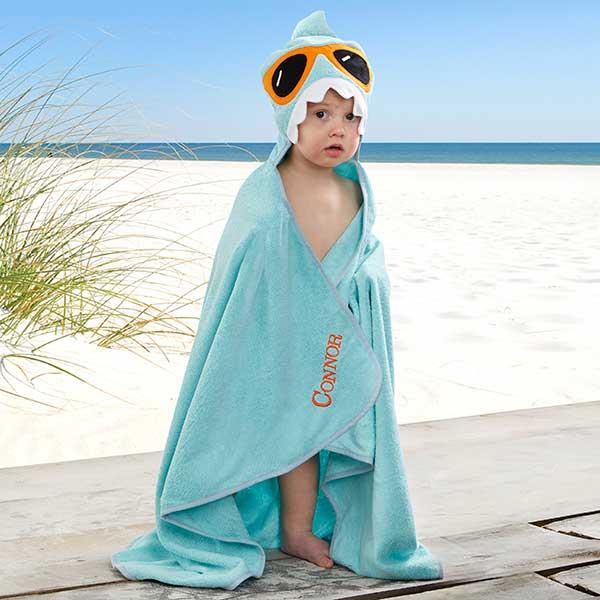 Embroidered Shark Kids Hooded Beach Towel - 20075