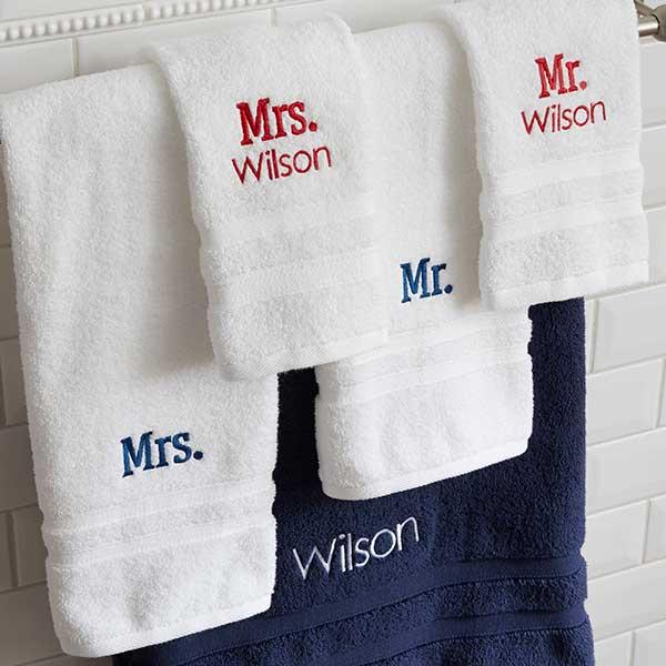Wamsutta Microcotton Mr Mrs Personalized Bath Towel