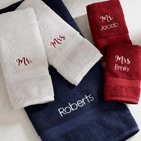 Personalized Wamsutta 805 Turkish Cotton Towels - Mr & Mrs - 20087