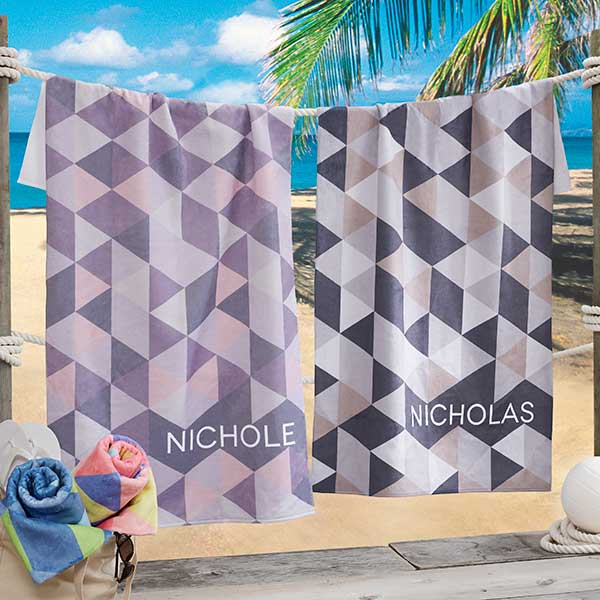 His & Hers Geometric Personalized Beach Towels - 20125