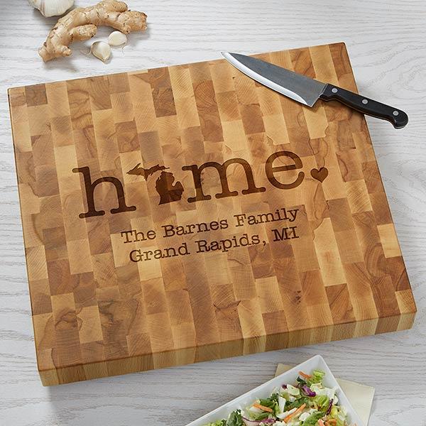 Home State Personalized Butcher Block Cutting Board - 20132
