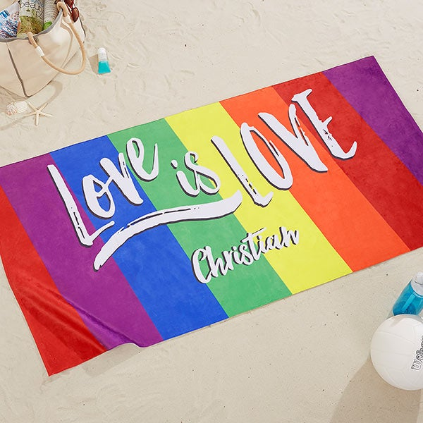 Love Is Love Personalized 30x60 Beach Towel