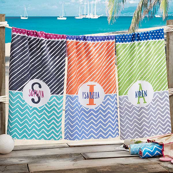 personalized beach towels colorful name