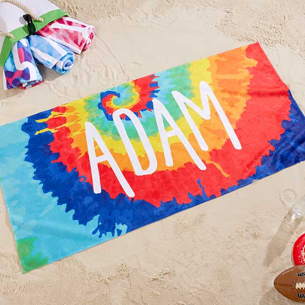 Tie Dye Fun Personalized 30x60 Beach Towel
