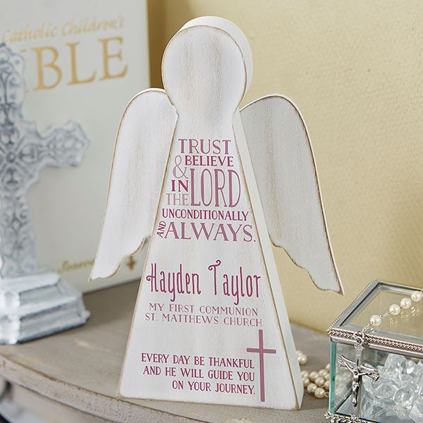 First Communion Personalized Wood Angel - 20165