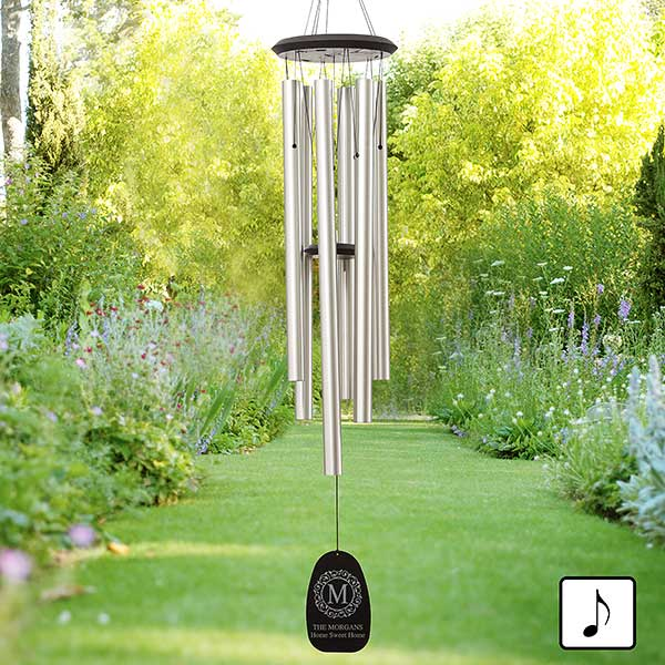 Personalized Wind Chimes - Circle & Vine Monogram - 20178
