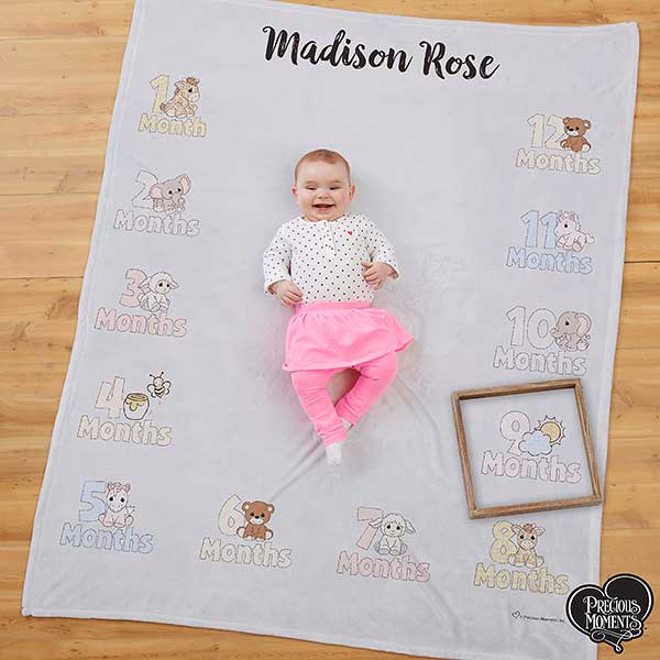 Precious Moments Personalized Baby Monthly Milestone Blanket - 20185