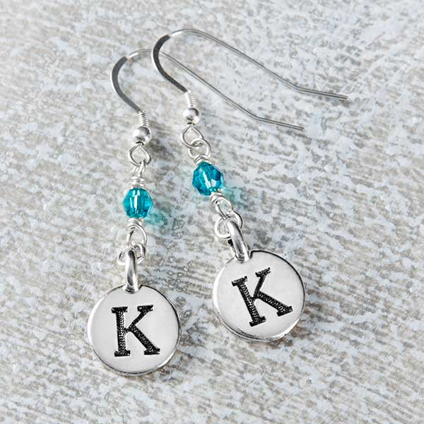 Personalized Dangle Initial & Birthstone Earrings - 20241D