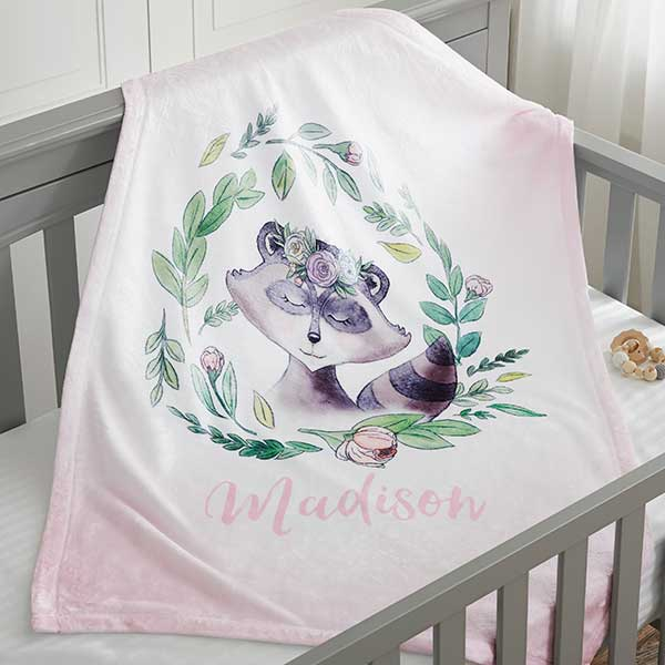 Woodland Baby Girl Personalized Baby Blankets - 20254