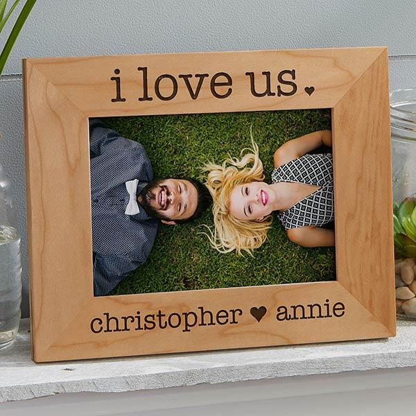 Engraved Wood Picture Frames - I Love Us - 20286