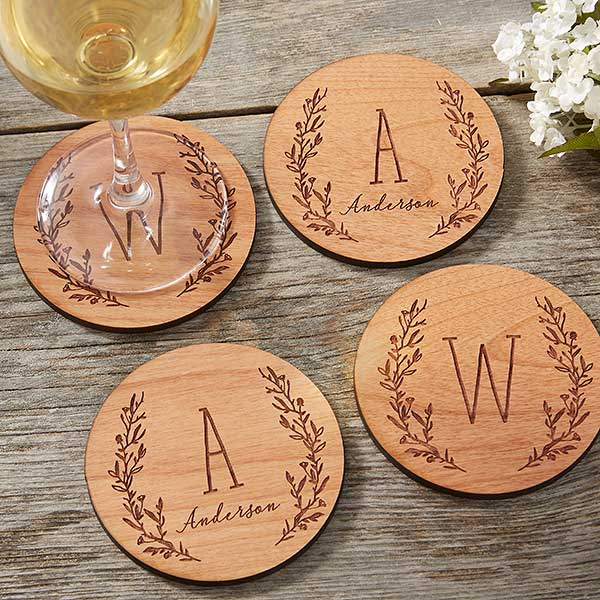 Personalized Wood Coasters - Farmhouse Floral - 20400