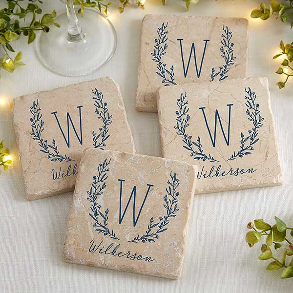Personalized Stone Coasters - Floral Farmhouse - 20405