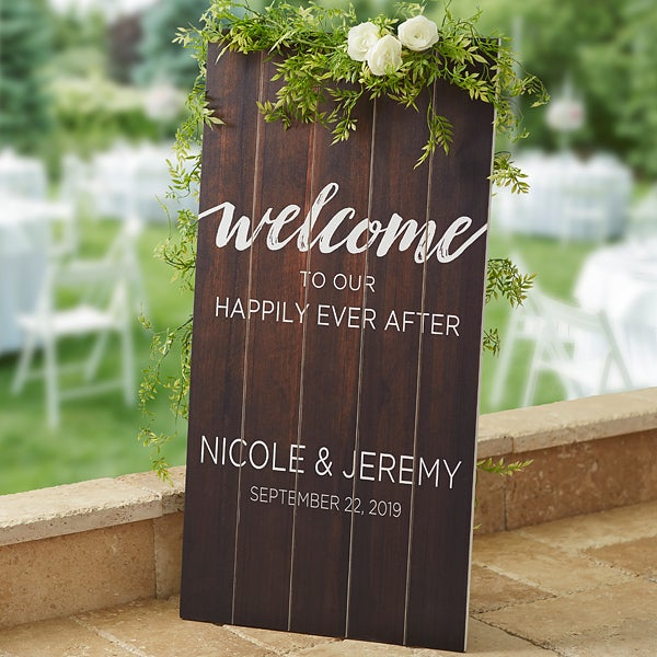Wedding Welcome Personalized Wood Standing Sign